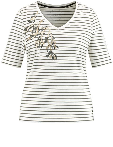 Ringel-Shirt mit Pailletten-Stickerei organic cotton