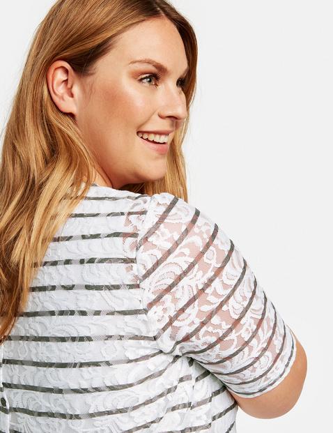 Kanten shirt met streepmotief