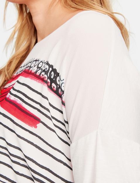 Shirt met 3/4-mouwen, van een materiaalmix
