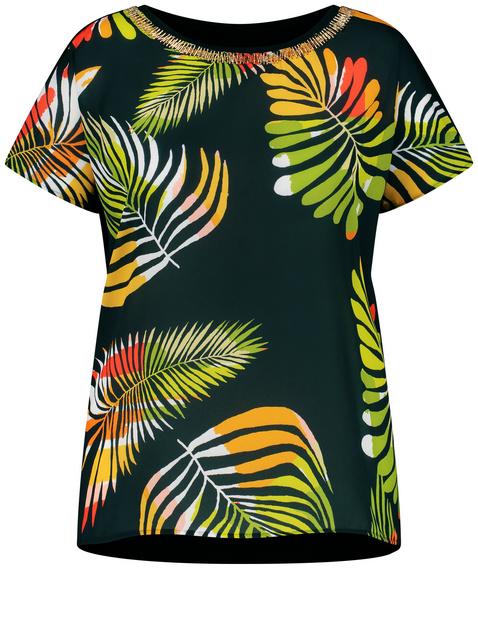 Blusenshirt mit Palmenblätter-Print