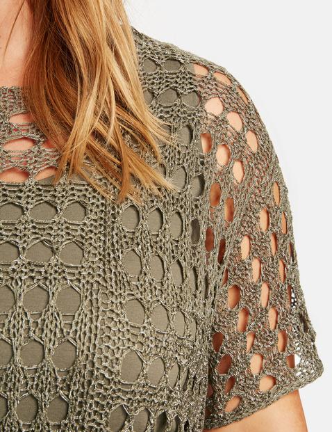 Sweter z krótkim rękawem w szydełkowym stylu