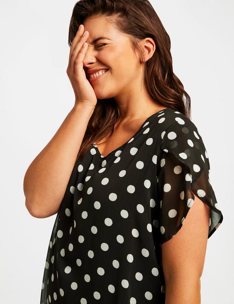Chiffon dress with polka dots