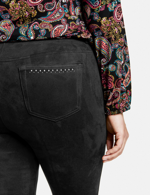 Betty kick-flared trousers with faux suede