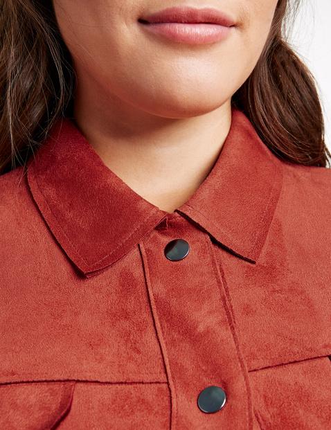 Modna koszulowa kurtka z imitacji zamszu