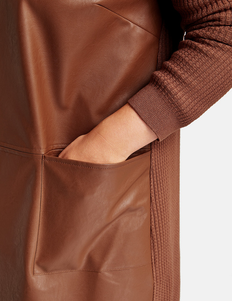 Long cardigan with faux leather on the front