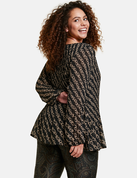 Geplisseerde blouse met kettingprint