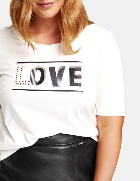 T-shirt met letterprint, van biologisch katoen