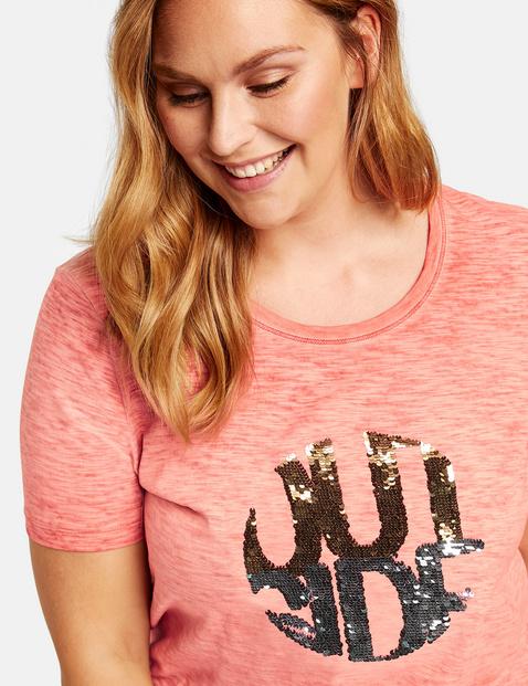 Luźna koszulka z cekinami, bawełna organiczna