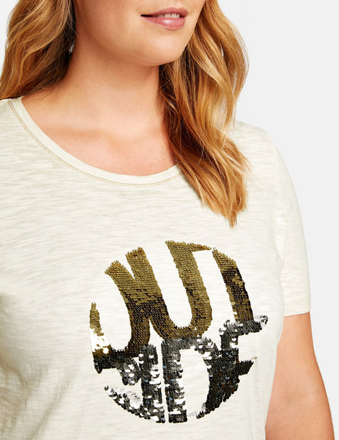 Casual organic cotton top with sequins