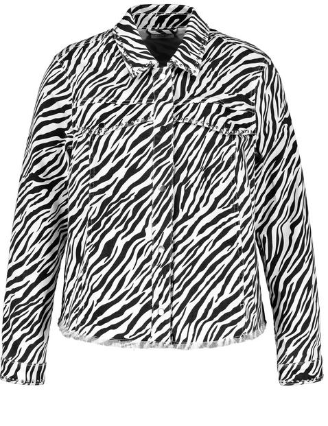 Organic cotton denim jacket with a zebra print