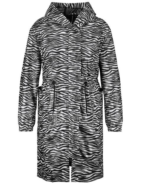 Lightweight parka with a zebra pattern