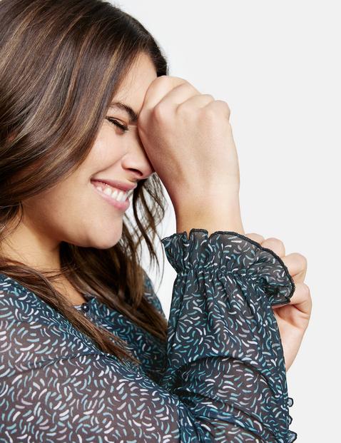 Soft mesh blouse top