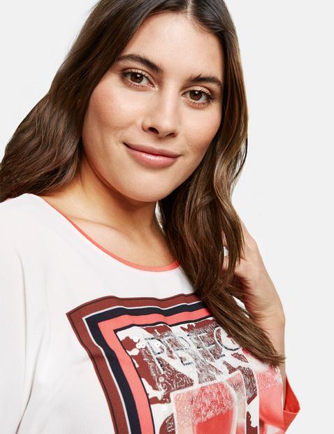 Shirt met 3/4-mouwen en een satijnen voorpand