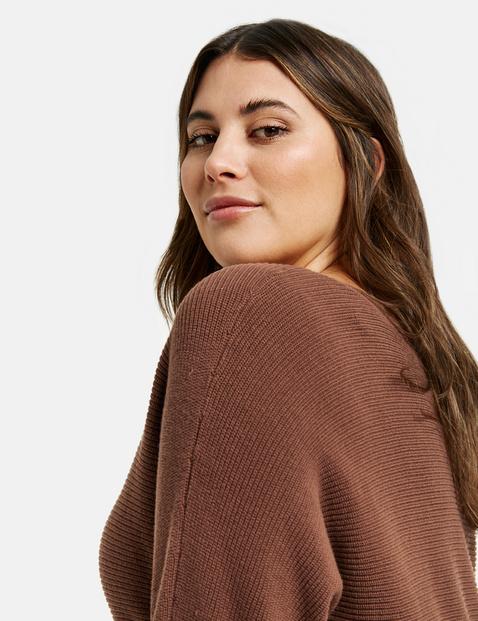 Baumwoll-Pullover mit Ripp-Struktur