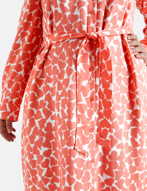 Hemdblusenkleid mit Herz-Print EcoVero
