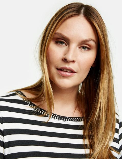 Striped T-shirt with decorative gemstones