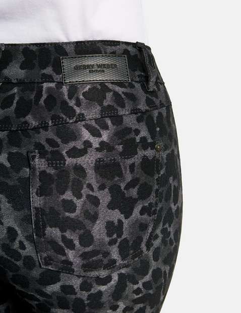 Five-pocket trousers with a leopard skin pattern, Best4me