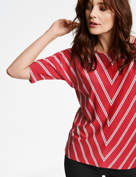 Top with diagonal stripes