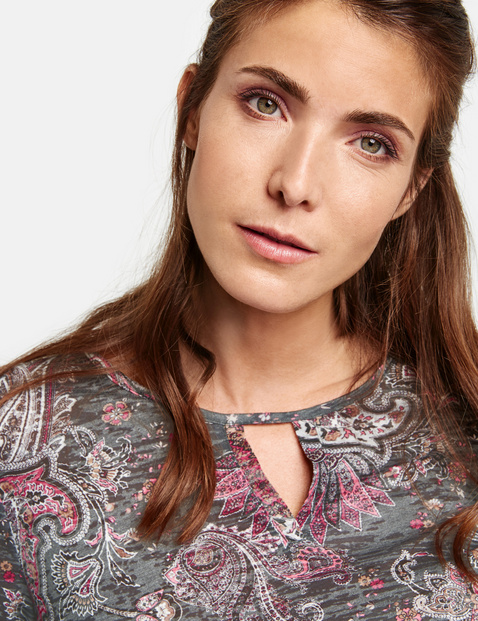 Shirt met burnt-out paisleymotief