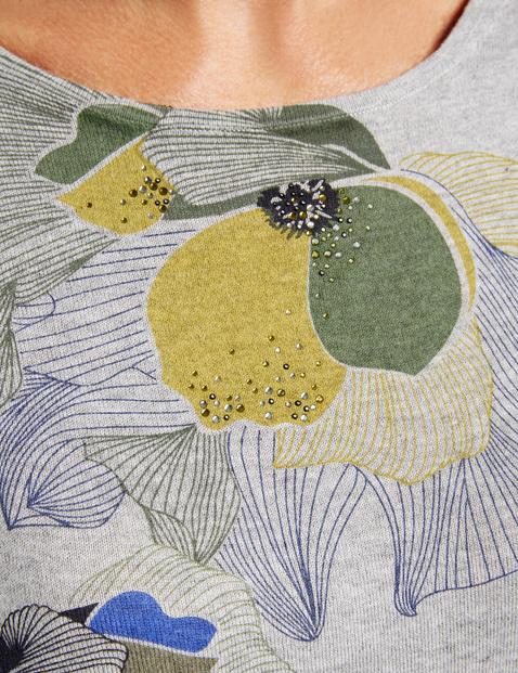 Pullover mit Print und Steinchenzier