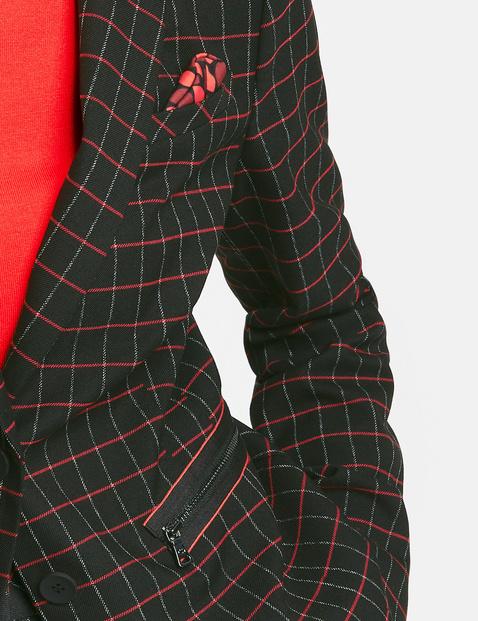 Blazer with contrasting colour checks