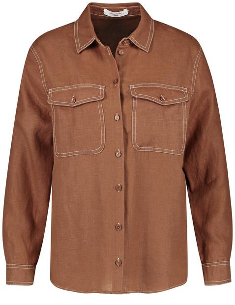Koszulowa bluzka z czystego lnu