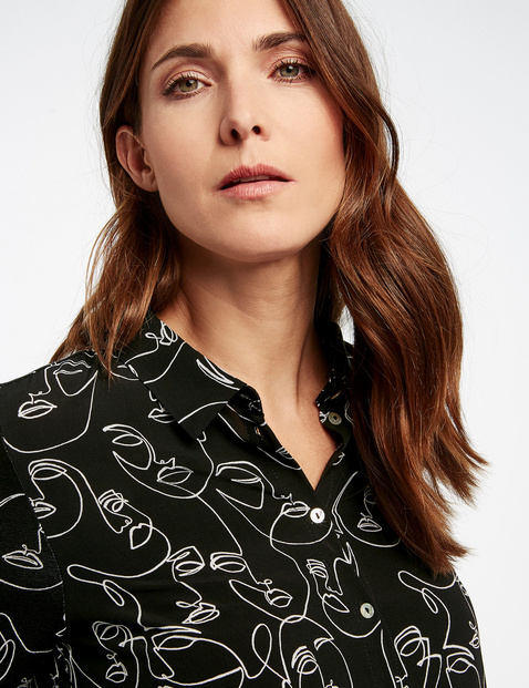 Langarmshirt mit Hemdkragen