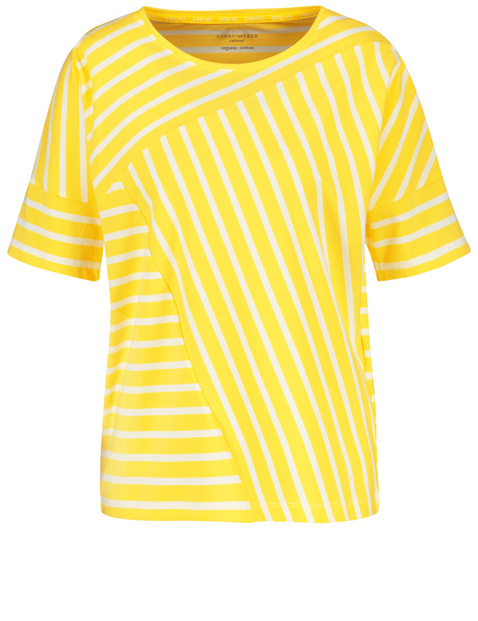 Top with a striped appliqué