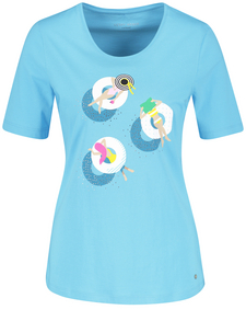 Marken-Kurzarmshirt mit Glanzprint NEU!!! hellblau