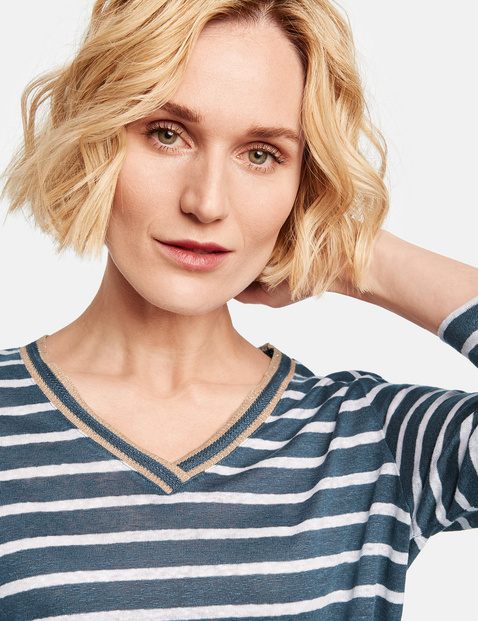 Striped linen top with 3/4-length sleeves