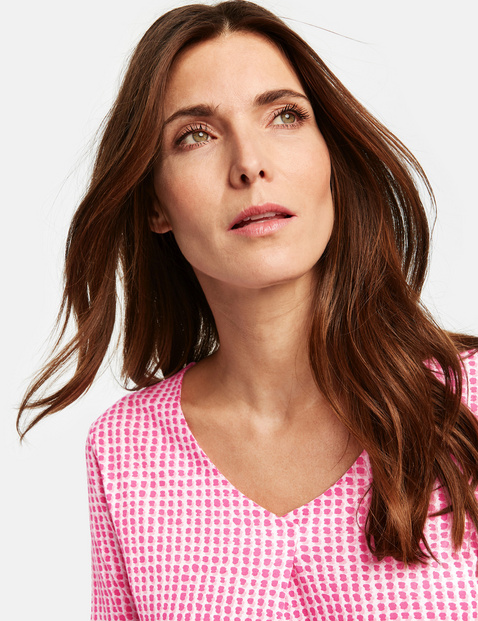 Blouse top with printed squares
