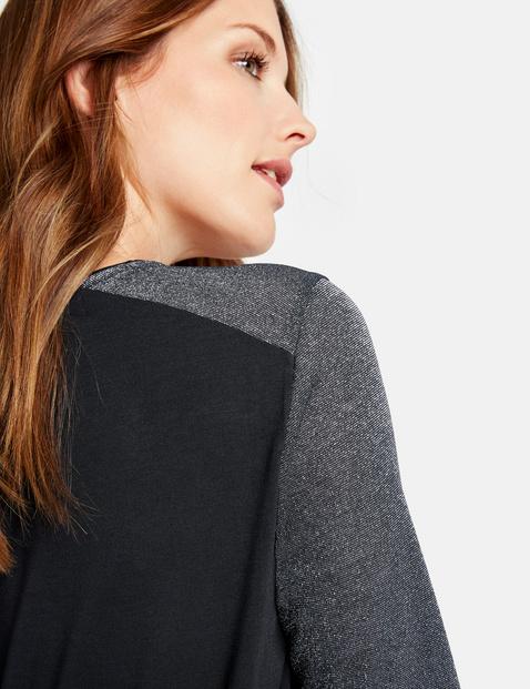 Shirt met patch van contrastmateriaal