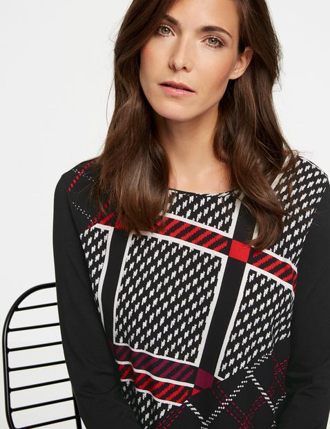 Bluzka z długim rękawem z patchworkowy wzorem w kratkę