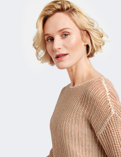 3/4-sleeve jumper with a textured knit
