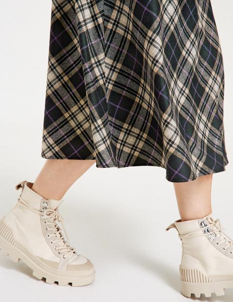 Flared check skirt