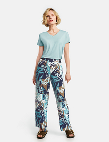 Womens Black Floral Elasticated Ankle Length Casual Leisure Trousers 10 12 14