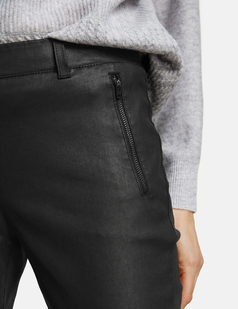 Slim fit coated trousers