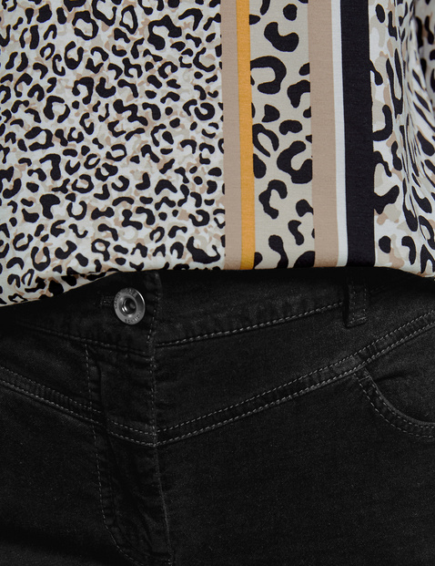 Slim fit trousers with a velvety texture in a petite size