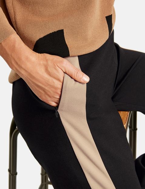 Jersey broek met recht model en hoge taille