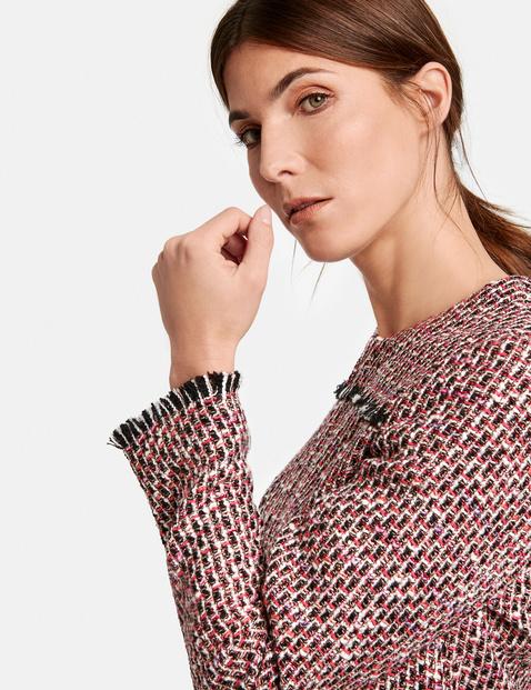 Short blazer with textured checks