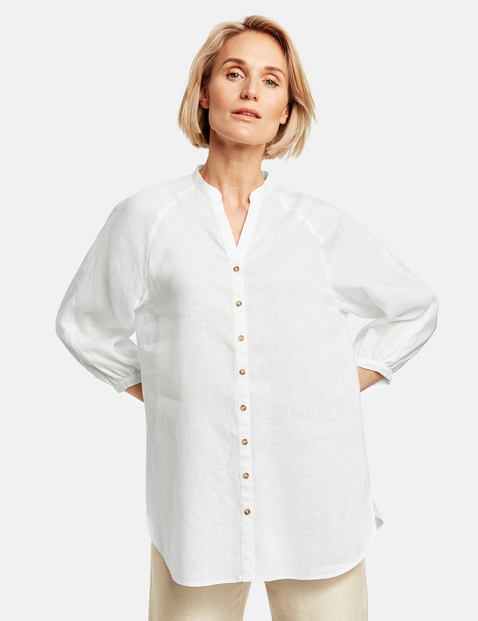 Long 3/4-length sleeve blouse made of pure linen