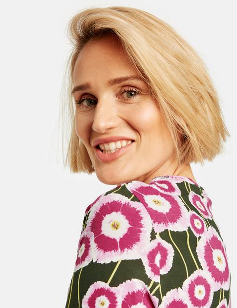 Koszulka w kwiaty w stylu retro, bawełna organiczna