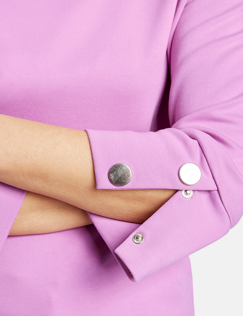 3/4-length sleeve top with decorative buttons