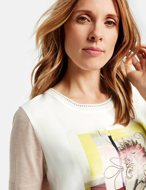 Shirt met korte mouwen en glitterdetails