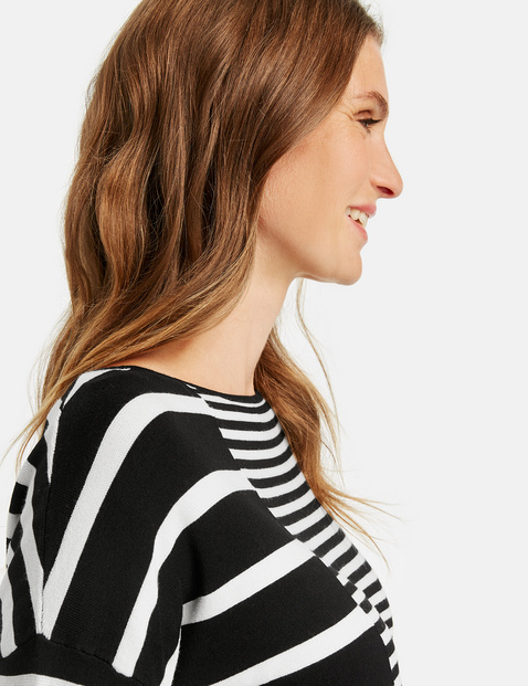 Jumper with panelled stripes