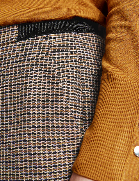 Trousers with a mini check pattern