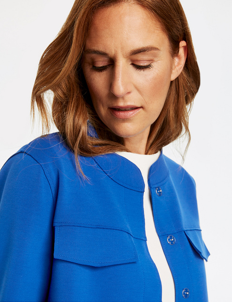 Blouse blazer with a stand-up collar
