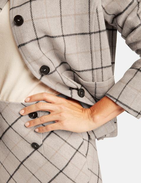 Short blazer with windowpane checks