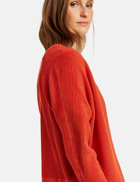 Horizontally ribbed cardigan