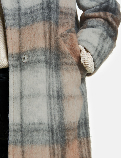 Check coat with wool